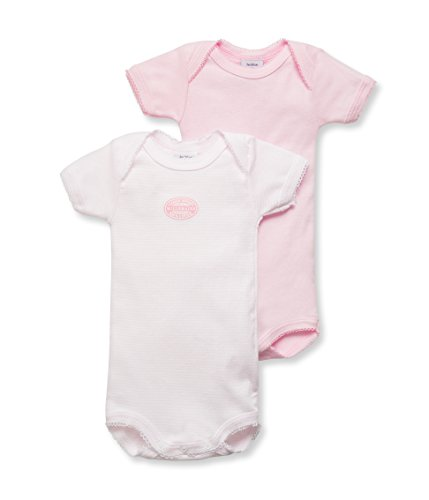 Petit Bateau Set of 2 Baby Girls Short Sleeve Bodysuits Pink/Pink Stripe Style 15052 Sizes 6-24 Months (Size 24/M Style 15059 S/S)