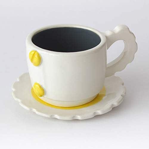 Taza de té con diseño mecánico, Más colores disponibles, Mango de engranaje, Cerámica artesanal, Hecho en Italia – 100ml (Gris, Amarillo)
