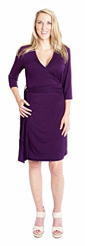 Udderly Hot Mama Whimsical Wrap Nursing and Pumping Dress - Plum, Size 3