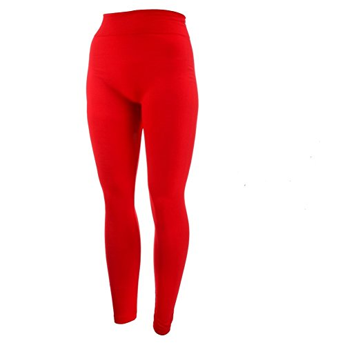 - 31SMxBfCYlL - New Mix by New Kathy Plus Size Fleece Leggings, Red