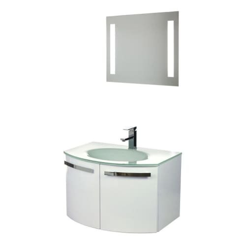 Nameeks CD13 ACF 27-3/5″ Wall Mounted Vanity Set with Wood Cabinet, Glass Top wi, Glossy White
