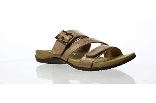 (Vionic Women's Rest Skylar Slide Sandal- Adjustable Walking Sandals with Concealed Orthotic Arch Support Rose Gold 7 W US)