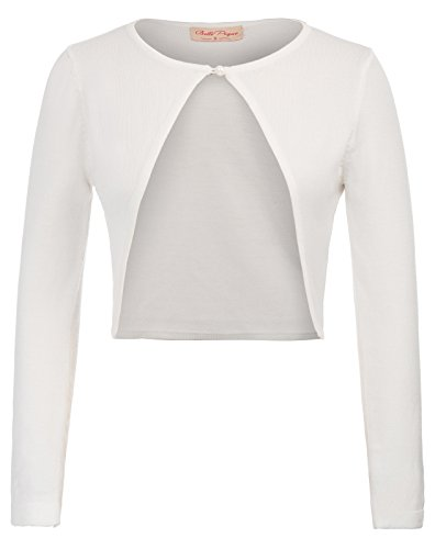 Open 709 Elegant Shrug Bolero Bianco 2 large Juniors Front Cardigan Vintage Top Dress X w15vEq