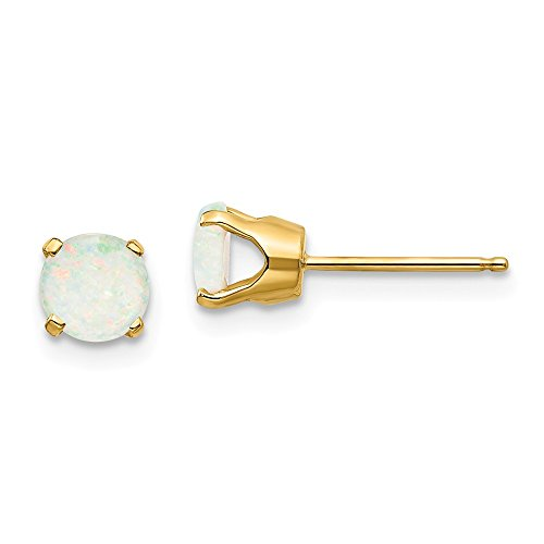 14k Yellow Gold 5mm Opal Post Stud Earrings October Birthstone Prong Gemstone Fine Jewelry Gifts For Women For Her ()