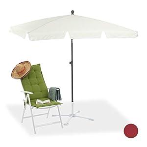 Relaxdays sombrilla playa, jardín y terraza rectangular reclinable, blanco, 200 x 120 cm
