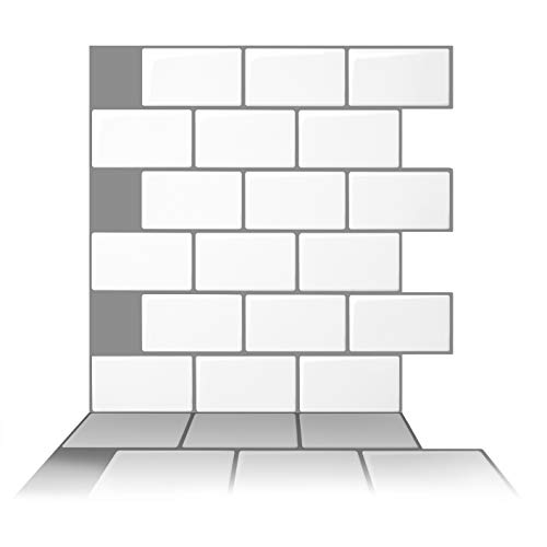 Tic Tac Tiles 10- Sheet 12 x 12 Peel and Stick Self Adhesive Removable Kitchen Backsplash Bathroom 3D Wall Tiles in Subway White with Gray Grout