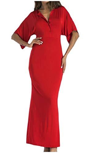 High Long Coolred Sleeve Maxi V Bodysuit Dress Flounced Neck Waist Women Red wwpXqfZ