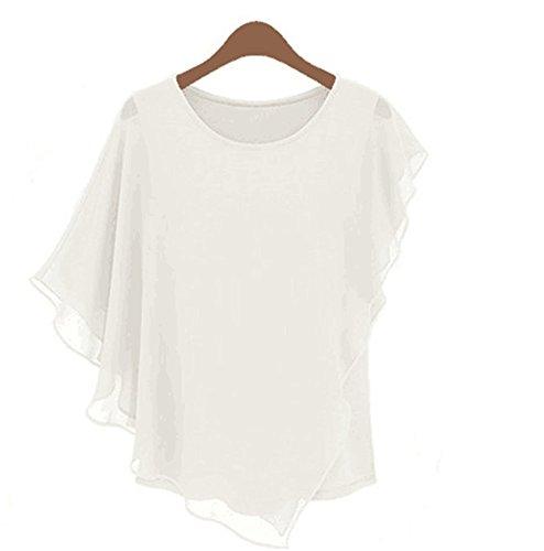 My Wonderful World Women's Short-sleeved T-shirt Flounced Chiffon Shirt Blouse Bat Top White