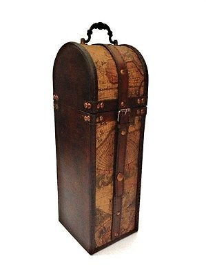 Vintage Colonial Old Map Atlas Design Wine Bottle Holder Storage Wood Gift Box by Homes on Trend