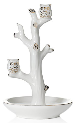 Beth Marie Luxury Boutique Owl Ring Holder Tree Dish, White with Real 24K Gold Plating, Ceramic Engagement & Wedding Ring Holder