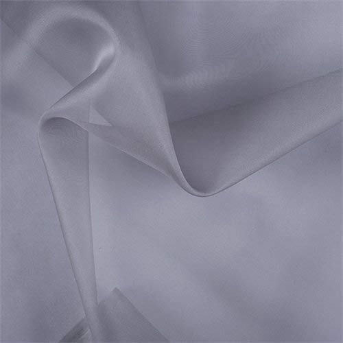 Silver Gray Silk Organza, Fabric By the - Upholstery Silver Silk