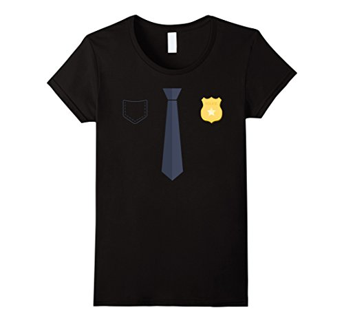 Woman Police Officer Uniform (Womens Police Officer Uniform T-Shirt Costume Party Tee Medium Black)
