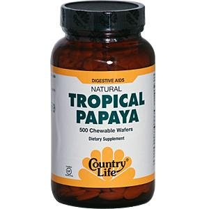 Country Life - tropicales naturelles Papaya 25 mg. - 500 croquer Wafers