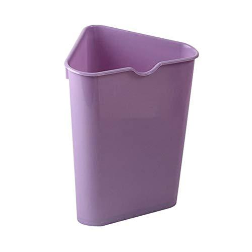 Trash Can Hflove Triangle Kitchen Plastic Corner Kitchen Trash Bin (Purple)
