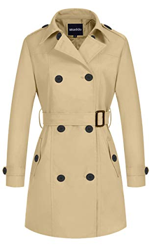 (Wantdo Women's Double-Breasted Long Trench Coat with Belt Khaki Large)