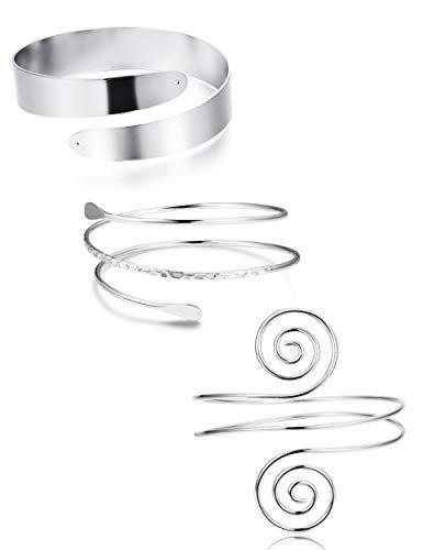 (FUNRUN JEWELRY 3PCS Minimalist Coil Upper Armband Adjustable Cuff Armlet Arm Cuff Bracelet Filigree Swirl Silver Tone)