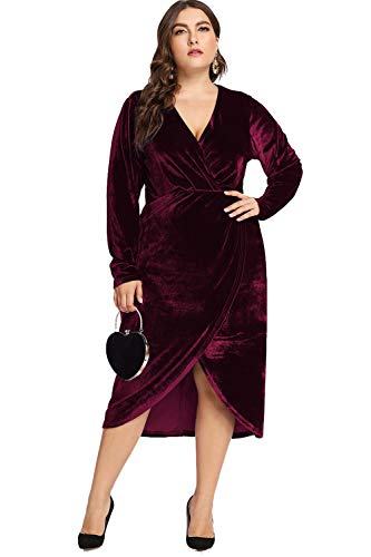 ESPRLIA Women's Plus Size High Waist Velvet Sexy Faux Wrap Pencil Cocktail Midi Dresses (Wine, 16W) ()