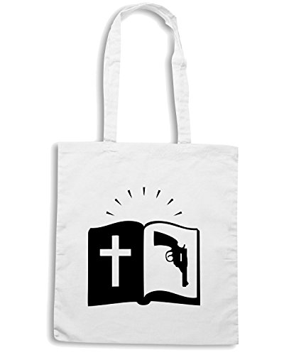 T-Shirtshock - Bolsa para la compra FUN0757 bible with gun logo 85167 Blanco