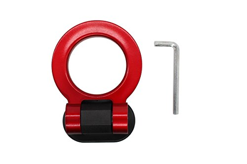 MOTOKU New Red Ring Track Racing Style Tow Hook Look Decoration for Any Car Truck SUV(Not Functional, Decorative Purpose ONLY) (Hook Functional)