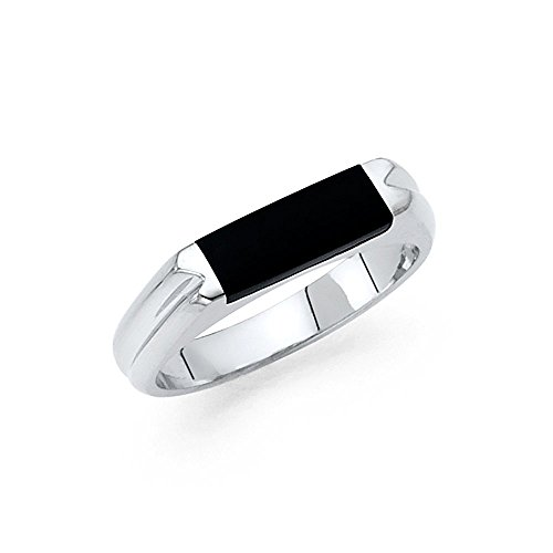 Mens Fancy Onyx (Solid 14k White Gold Onyx Ring Mens Band Black Diamond Cut Stylish Square Design Polished Fancy Size 12)