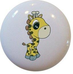 Set of 2 Giraffe Baby Big Eyes Ceramic Cabinet Drawer Pull Knobs