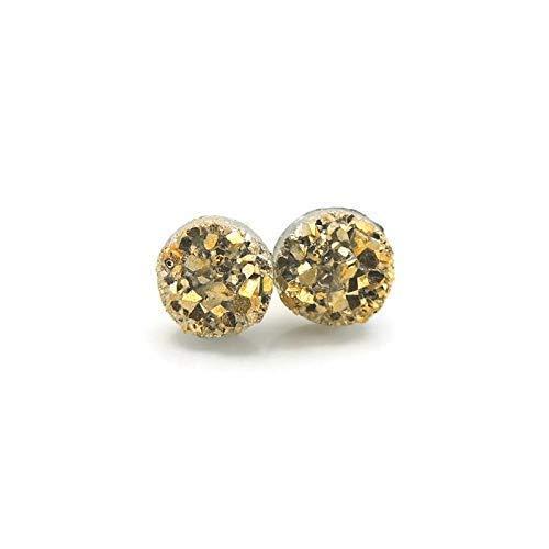 - Faux Druzy Stone Earrings Hypoallergenic Metal-Free Plastic Posts, Gold-Tone, 8mm