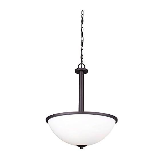 "Canarm ICH370A03ORB16-O Hampton 3 Light 16 In Chain Chandelier In Flat Opal Glass - Size: 16 1/2"" W x 21"" H Flat Opal Glass 3 x 100W A bulbs - kitchen-dining-room-decor, kitchen-dining-room, chandeliers-lighting - 31SNAfMzGWL. SS570  -"