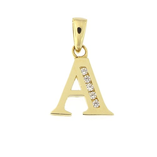 14k Yellow Gold Cubic Zirconia Initial Pendant, S, Pendant Only