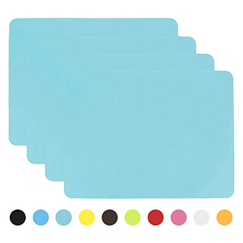 Aspire 4PCS Thicken Non-Slip Silicone Placemats Cutting Hot Mats Tablemats-Light Blue