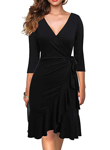 Berydress Women's Classic 3/4 Sleeve V-Neck Knee-Length Sheath Ruffle Cocktail Work Black Faux Wrap Dress (L, 6086-Black)