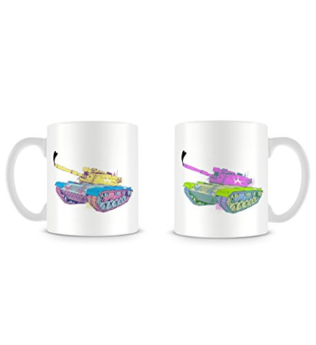 (Cool Lucid Colours Tank with Heart Turret in Hand Drawn Style Mug)