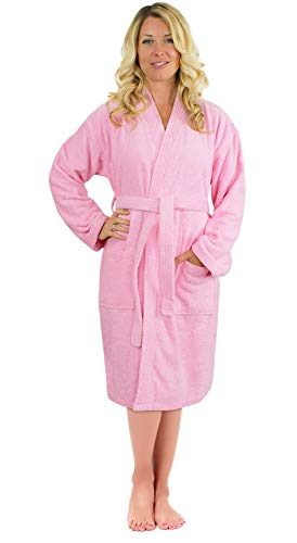 - Luxurious Turkish Cotton Kimono Collar Super-Soft Terry Absorbent Bathrobes for Women (Pink, Medium)