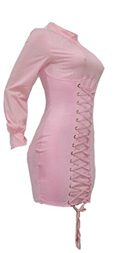 Pencil Color Bodycon Dress Pure Cromoncent Pink Womens Lace Short Up Eyelet wq40a