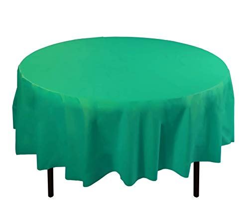 (12-Pack Premium Plastic Tablecloth 84in. Round Table Cover - Teal)