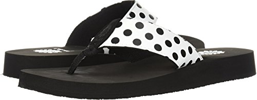 Leather Polka Dots Sandals - Yellow Box Women's Zadie Flip-Flop, White, 7.5 M US
