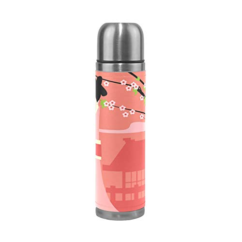 imobaby Japanese Girl And Plum Blossom Leak Proof Water Bottle Insulated Double Vacuum Stainless Steel Thermos 500ML by imobaby