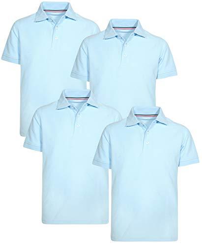 (French Toast Boys Short Sleeve Uniform Polo Shirt - 4 Pack, Light Blue, Size X-Small)