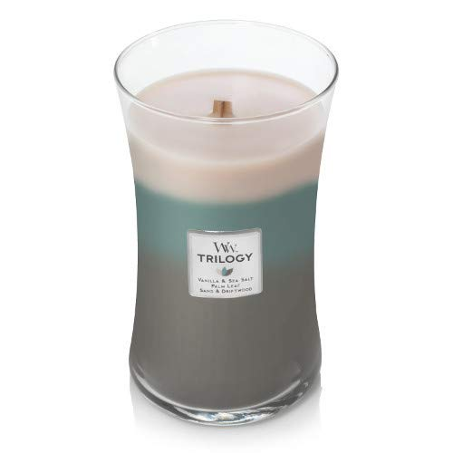 WoodWick Trilogy Ocean Breeze, 3-in-1 Highly Scented Candle, Classic Hourglass Jar with Lid, Large 7 Inches, 21.5 OZ