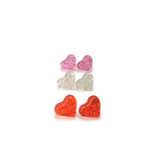 Glitter Filled Heart Earrings Trio Gift Set Red, Silver and Pink on Plastic Posts