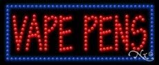 LED Vape Pens Sign for Business Displays 11H x 27W x 1D Horizontal Electronic Light Up Sign for Smoke Shops