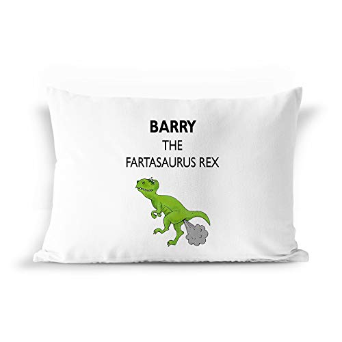 Standard Pillowcase Barry - BarborasBoutique Barry Name Gift Pillowcase - PIL7 Funny Dinosaur Dino Farta-Saurus T-Rex Fart Farting Joke Pillow Case for Men Kids Boys Children Male Adults Personalized Standard Size