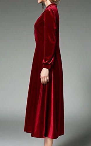 Altalena Rosso Vestito Il Collare Basamento Del Di Pieghettato Comodi In Womens Massiccio Tunica Velluto Oro qPn8xF