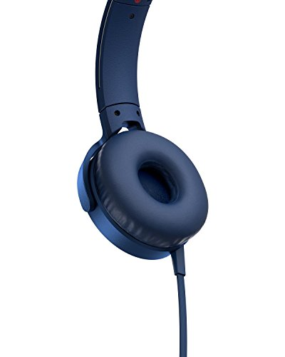 Sony XB550AP Extra Bass On-Ear Headset/Headphones with mic for phone call, Blue 2021 July Feel the power of extra bass 30 mm driver units deliver balanced sound with an exceptional low-end thanks to 5 - 22,000 Hz Dynamic Frequency Response Take calls and switch tracks with the in-line remote and mic
