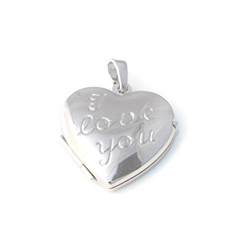 I Love You-Médaillon en forme de cœur en argent véritable