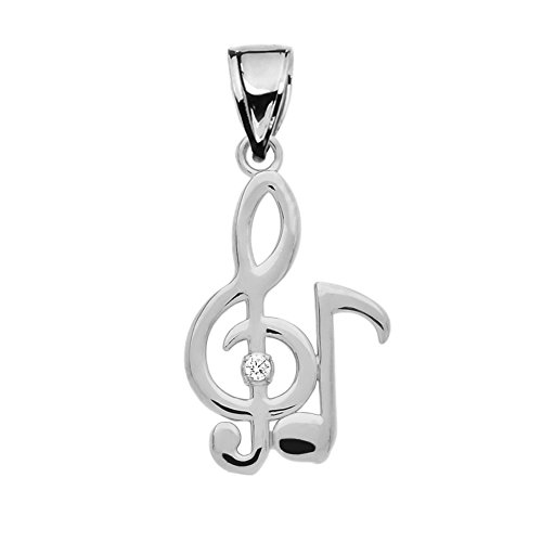 Fine Sterling Silver Diamond Treble Clef and Eighth Note Pendant