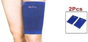 Amazon.com: eDealMax adultos Tiras de impresión elástico de la Manga muslo de la pierna apoyo de la ayuda Par Azul Negro: Health & Personal Care