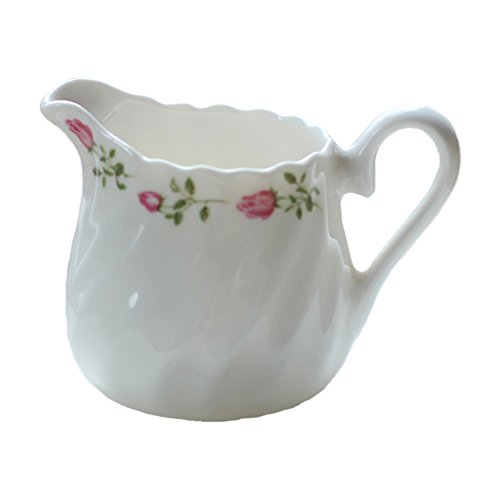 Elegance Spout Ceramic Hand Painted Coffee Milk Tea Creamer Mug White Porcelain Honey Jug Sauce Pitcher Syrup Dressing Server Cup with Handle Home Decor Gift ()