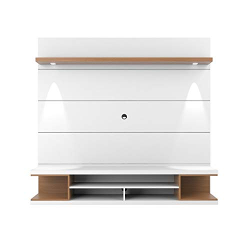 (Manhattan Comfort 27952 Utopia Entertainment Center, White/Maple Cream)