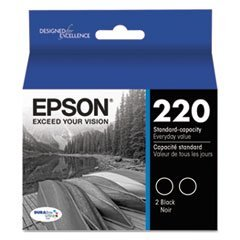 T220120D2 (220) DURABrite Ultra Ink, Black, 2/Pk by 4COU -  Epson