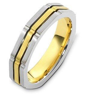 Dora Ring Titanium (Contemporary 5mm Wide 18 Karat Yellow Gold and Titanium Wedding Band - 12.25)